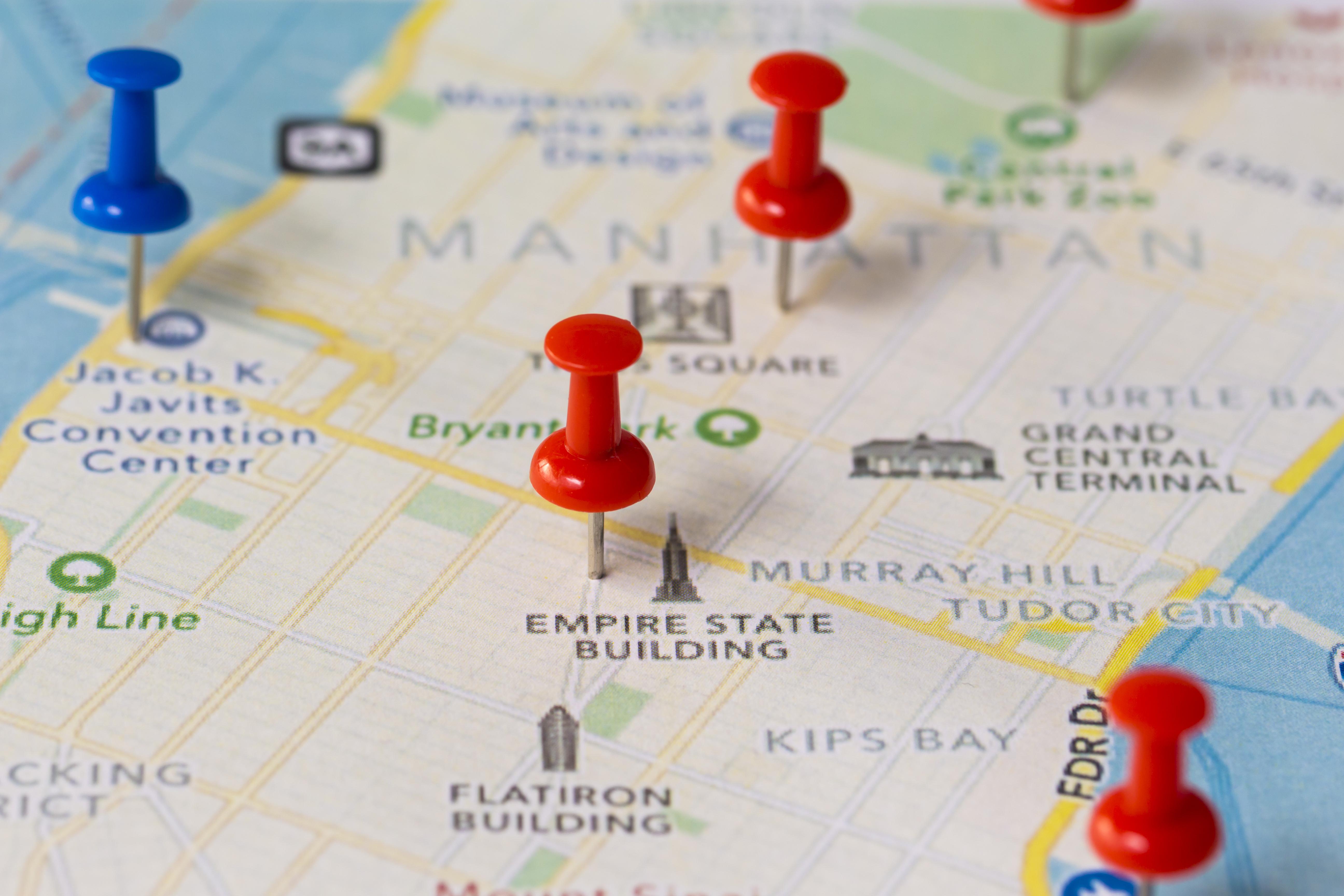 Map of Manhattan with pins marking landmarks